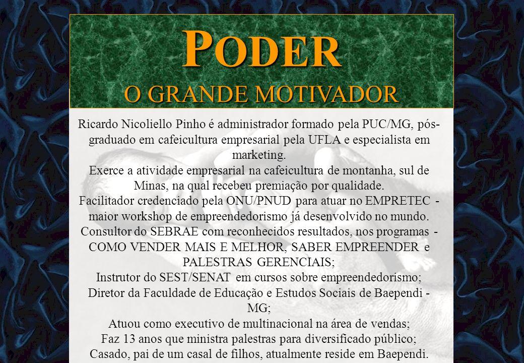 Ricardo Nicoliello Pinho é administrador formado pela PUC/MG, pós- graduado em cafeicultura empresarial pela UFLA e especialista em marketing. Exerce