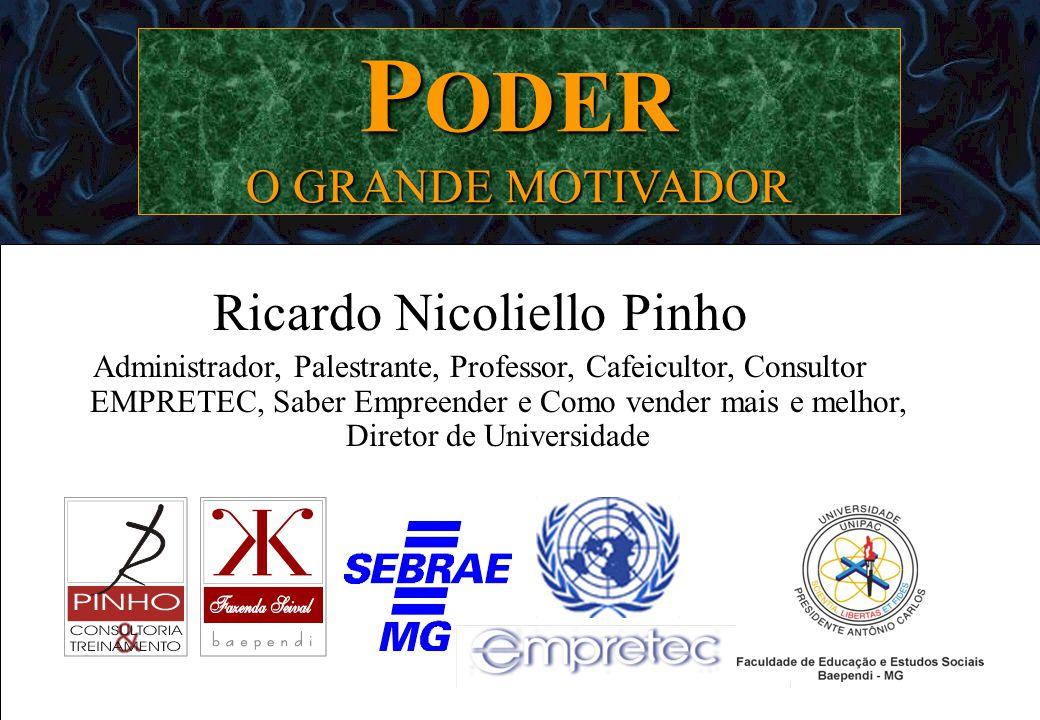 PODER O GRANDE MOTIVADOR Ricardo Nicoliello Pinho Administrador, Palestrante, Professor, Cafeicultor, Consultor EMPRETEC, Saber Empreender e Como vend