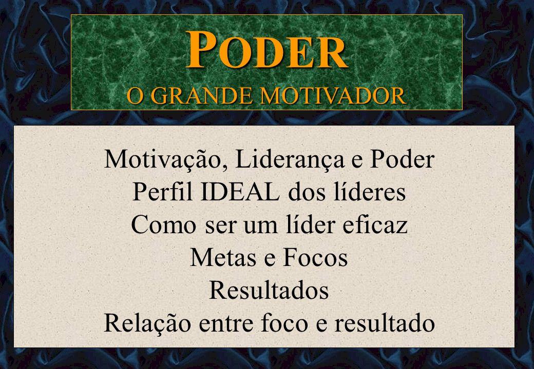Motivação, Liderança e Poder Perfil IDEAL dos líderes Como ser um líder eficaz Metas e Focos Resultados Relação entre foco e resultado P ODER O GRANDE