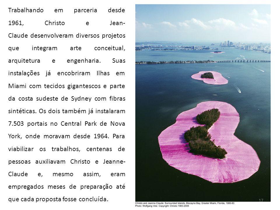 Trabalhando em parceria desde 1961, Christo e Jean- Claude desenvolveram diversos projetos que integram arte conceitual, arquitetura e engenharia. Sua