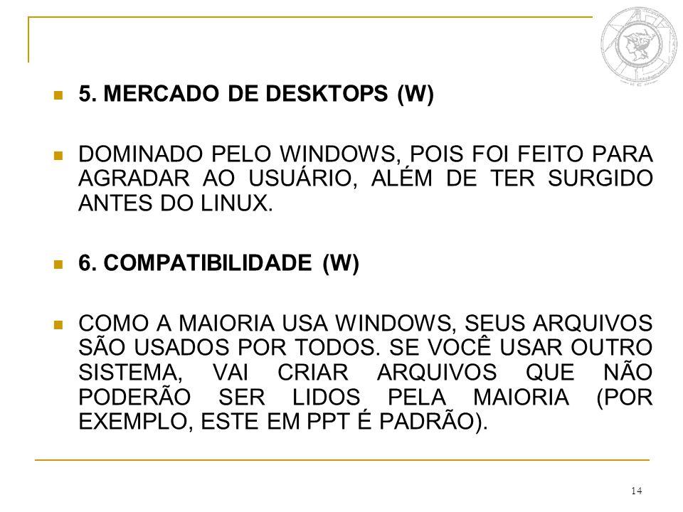 14 5. MERCADO DE DESKTOPS (W) DOMINADO PELO WINDOWS, POIS FOI FEITO PARA AGRADAR AO USUÁRIO, ALÉM DE TER SURGIDO ANTES DO LINUX. 6. COMPATIBILIDADE (W