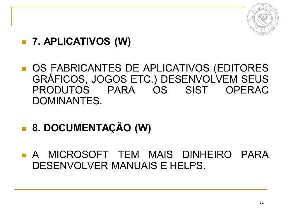 15 7. APLICATIVOS (W) OS FABRICANTES DE APLICATIVOS (EDITORES GRÁFICOS, JOGOS ETC.) DESENVOLVEM SEUS PRODUTOS PARA OS SIST OPERAC DOMINANTES. 8. DOCUM