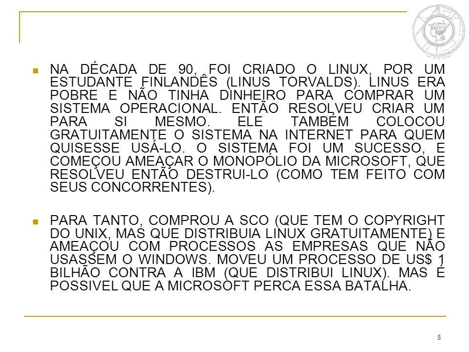 8 NA DÉCADA DE 90, FOI CRIADO O LINUX, POR UM ESTUDANTE FINLANDÊS (LINUS TORVALDS).