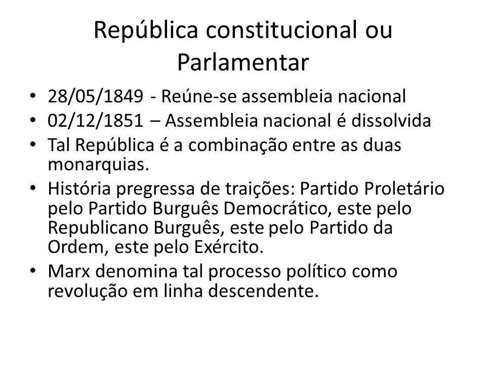 República constitucional ou Parlamentar 28/05/1849 - Reúne-se assembleia nacional 02/12/1851 – Assembleia nacional é dissolvida Tal República é a comb
