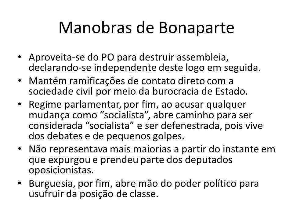 Manobras de Bonaparte Aproveita-se do PO para destruir assembleia, declarando-se independente deste logo em seguida. Mantém ramificações de contato di