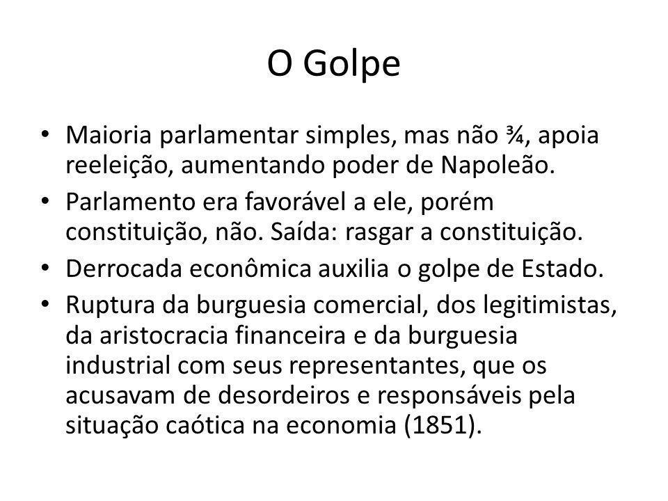 O Golpe Maioria parlamentar simples, mas não ¾, apoia reeleição, aumentando poder de Napoleão. Parlamento era favorável a ele, porém constituição, não