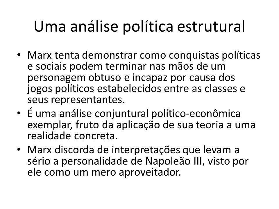 Uma análise política estrutural Marx tenta demonstrar como conquistas políticas e sociais podem terminar nas mãos de um personagem obtuso e incapaz po