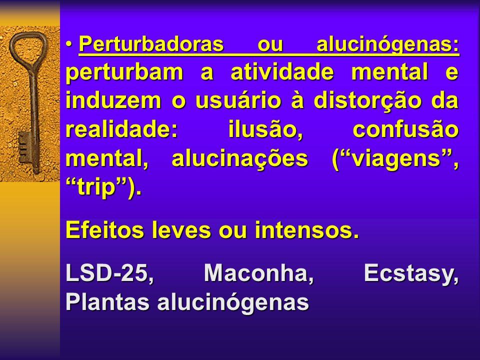 Perturbadoras ou alucinógenas: perturbam a atividade mental e induzem o usuário à distorção da realidade: ilusão, confusão mental, alucinações ( viagens , trip ).