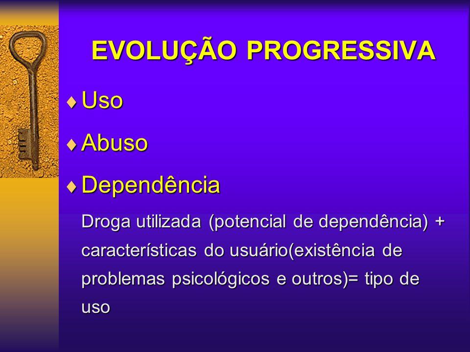 DEPENDÊNCIA QUÍMICA Doença incurável, progressiva e fatal (OMS) Comprometimento Físico: O organismo aprende a funcionar com a substância.