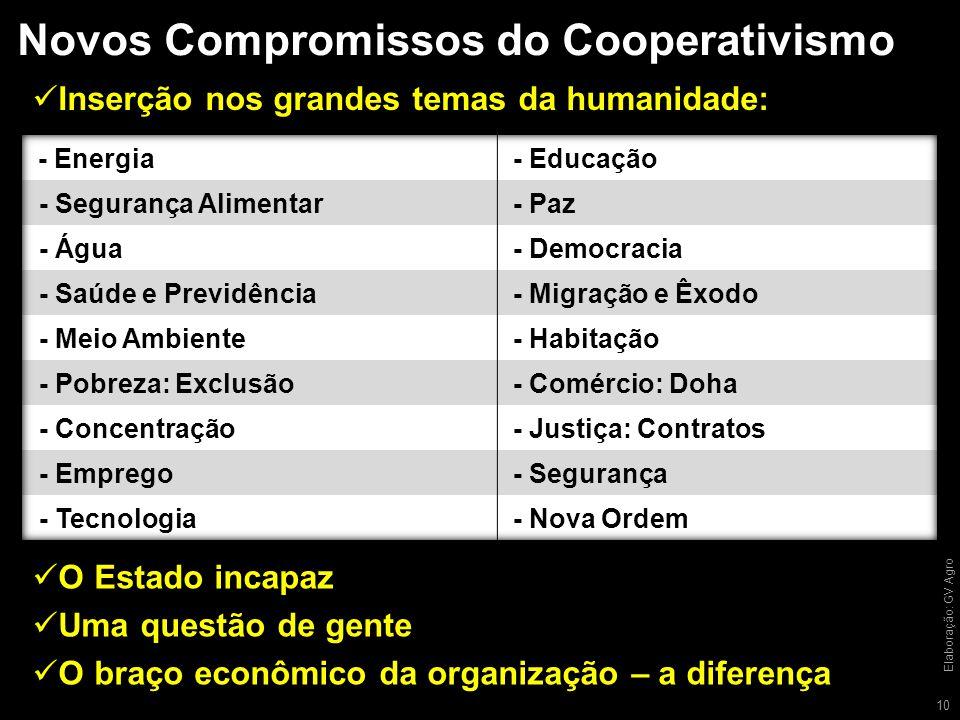 Novos Compromissos do Cooperativismo 10 Inserção nos grandes temas da humanidade: Elaboração: GV Agro O Estado incapaz Uma questão de gente O braço econômico da organização – a diferença