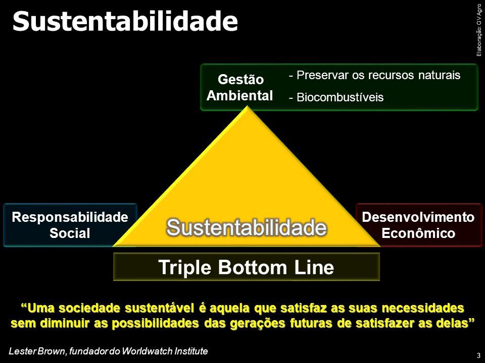 Sustentabilidade 3 Gestão Ambiental - Preservar os recursos naturais - Biocombustíveis Responsabilidade Social Desenvolvimento Econômico Triple Bottom Line Uma sociedade sustentável é aquela que satisfaz as suas necessidades sem diminuir as possibilidades das gerações futuras de satisfazer as delas Lester Brown, fundador do Worldwatch Institute