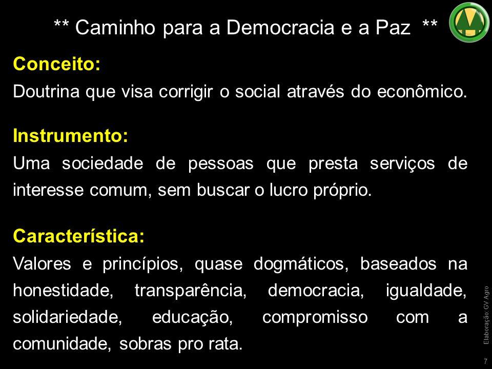7 ** Caminho para a Democracia e a Paz ** Conceito: Doutrina que visa corrigir o social através do econômico.