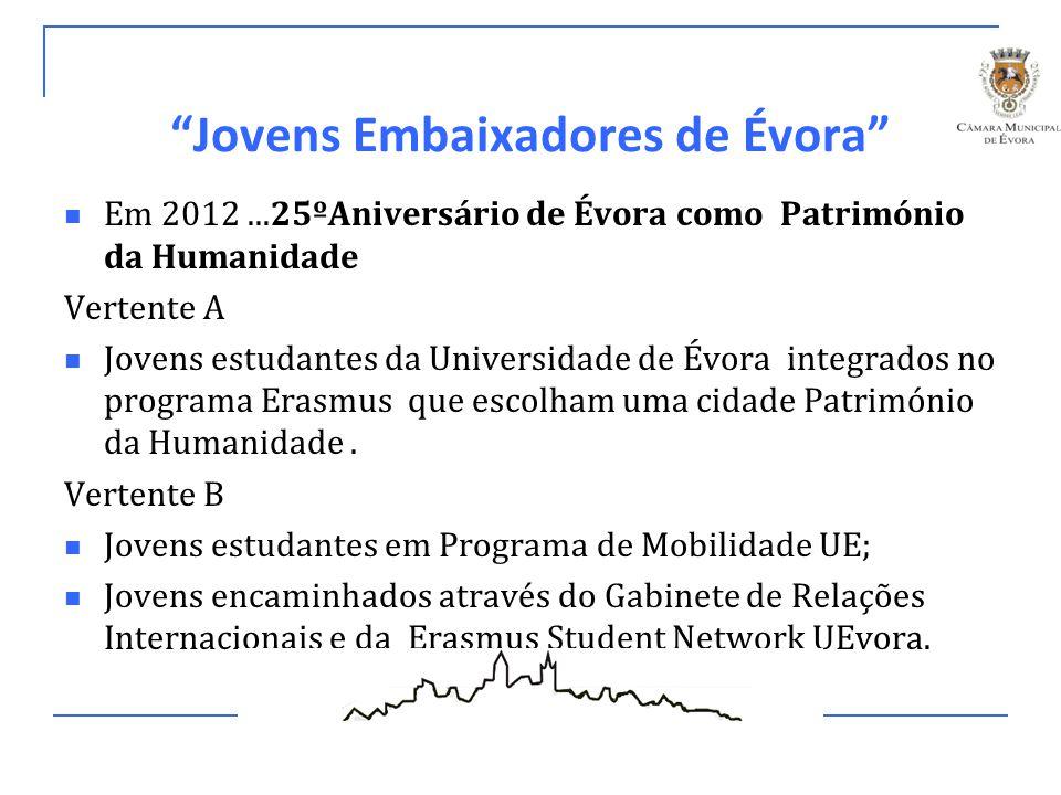 """""""Jovens Embaixadores de Évora"""" Em 2012...25ºAniversário de Évora como Património da Humanidade Vertente A Jovens estudantes da Universidade de Évora i"""