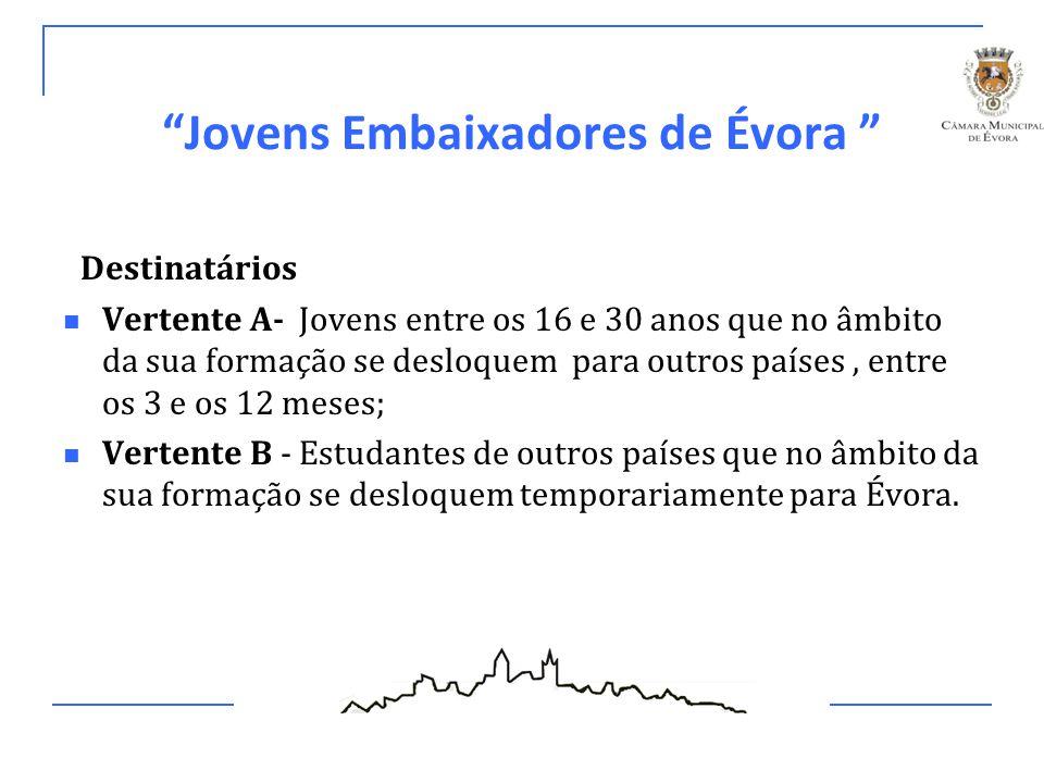 Jovens Embaixadores de Évora Critérios de Seleção Vertente A Jovens com idades entre os 16 e 30 anos: Jovens estudantes ou estagiários de Cursos Técnico Profissionais, Licenciaturas, Mestrados ou Doutoramentos; Jovens residentes em Évora; Jovens integrados num Programa de Mobilidade Estudantil.