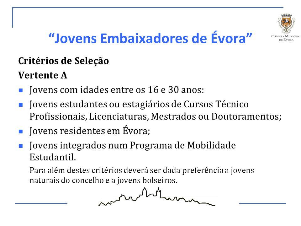 Jovens Embaixadores de Évora Critérios de Seleção Vertente B Jovens estudantes em Programa de Mobilidade em Évora, encaminhados através do estabelecimento de ensino de acolhimento;