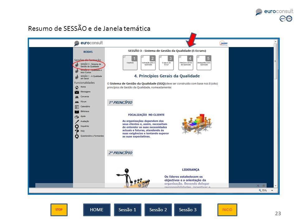 23 Resumo de SESSÃO e de Janela temática Sessão 1Sessão 2Sessão 3HOME INICIO STOP