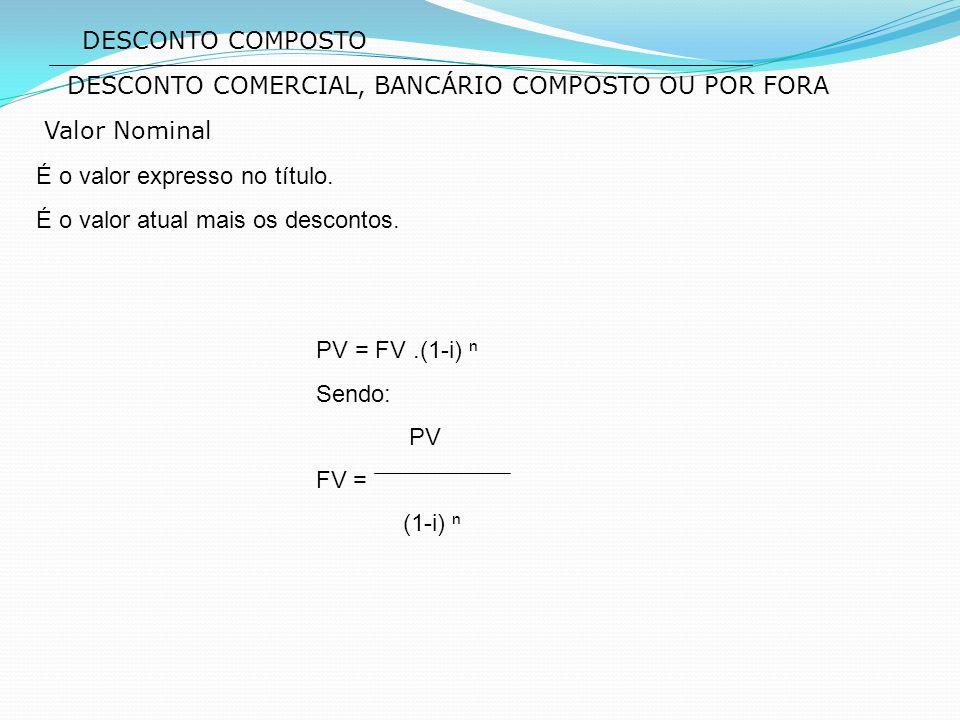 DESCONTO COMPOSTO Valor Nominal É o valor expresso no título. É o valor atual mais os descontos. PV = FV.(1-i) ⁿ Sendo: PV FV = (1-i) ⁿ DESCONTO COMER