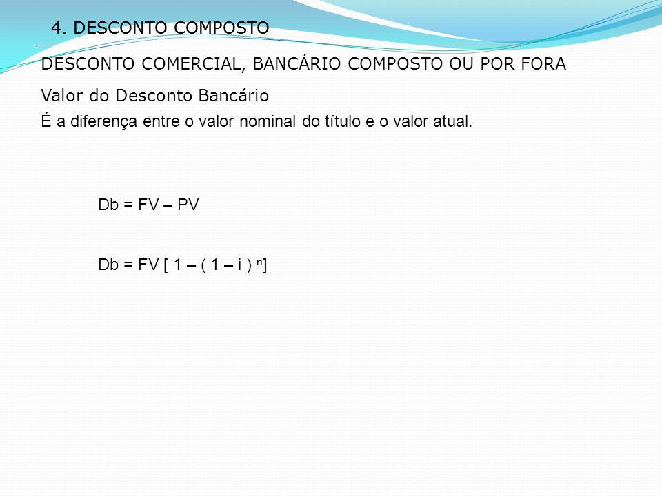 4. DESCONTO COMPOSTO Valor do Desconto Bancário É a diferença entre o valor nominal do título e o valor atual. Db = FV – PV Db = FV [ 1 – ( 1 – i ) ⁿ]
