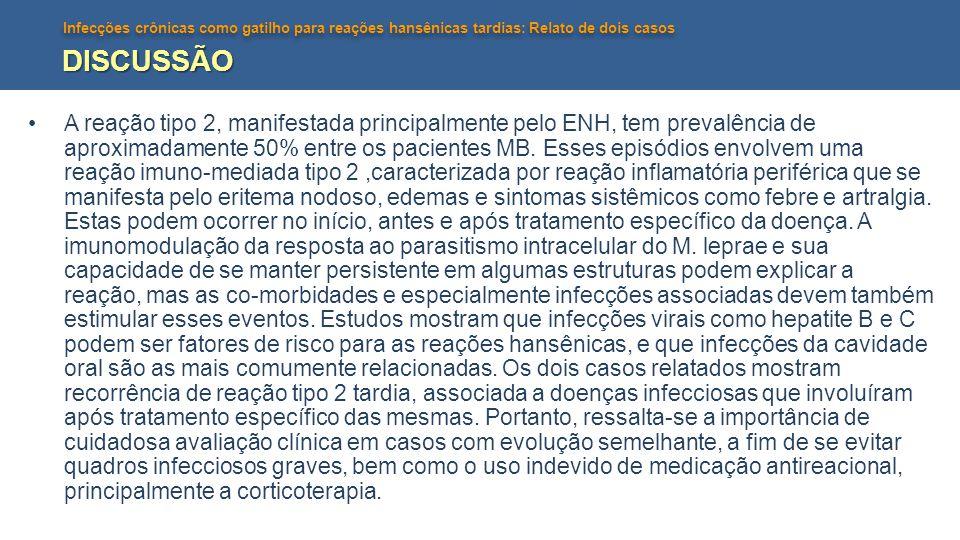 Infecções crônicas como gatilho para reações hansênicas tardias: Relato de dois casos DISCUSSÃO A reação tipo 2, manifestada principalmente pelo ENH,