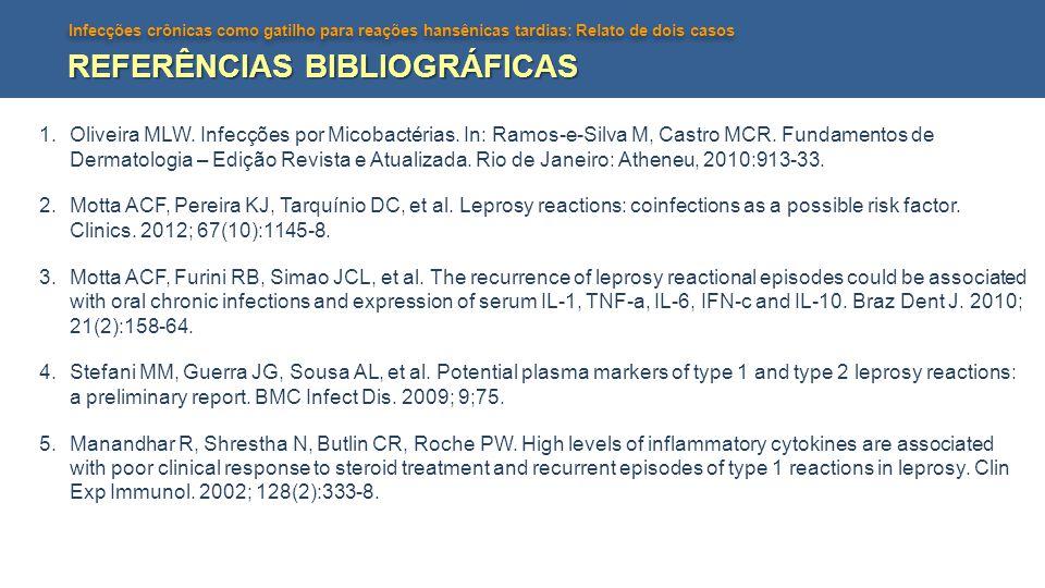 Infecções crônicas como gatilho para reações hansênicas tardias: Relato de dois casos REFERÊNCIAS BIBLIOGRÁFICAS 1.Oliveira MLW. Infecções por Micobac