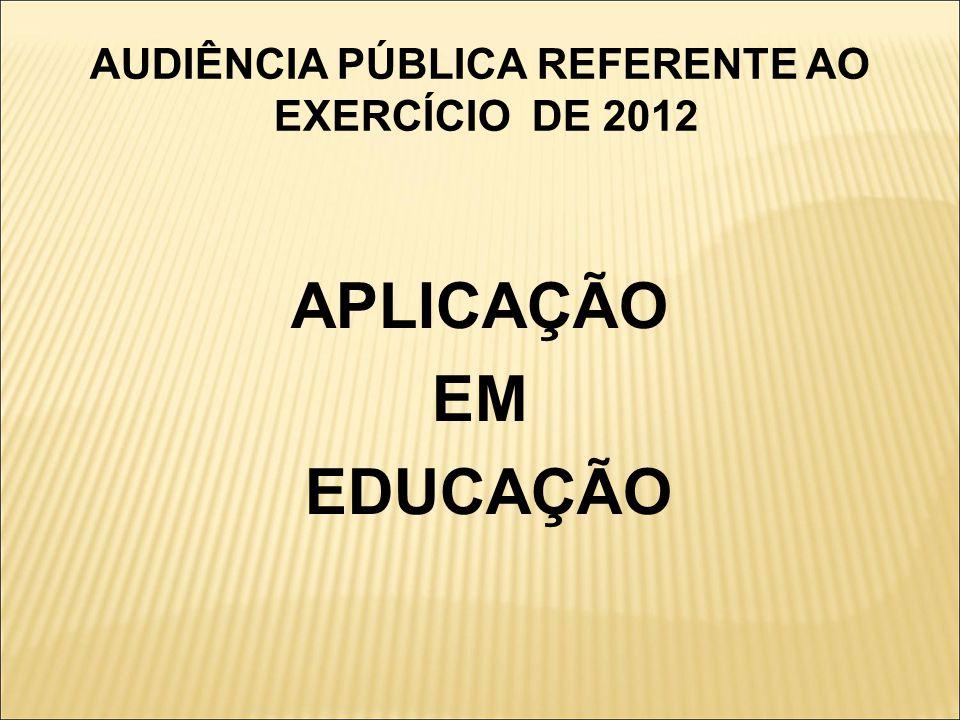 AUDIÊNCIA PÚBLICA REFERENTE AO EXERCÍCIO DE 2012 APLICAÇÃO EM EDUCAÇÃO