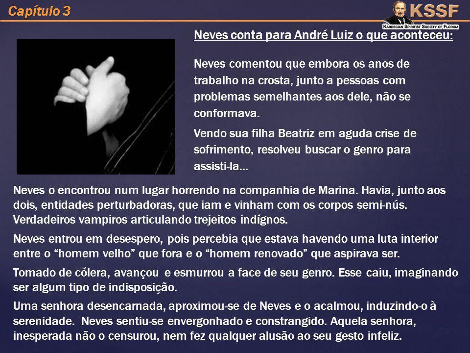 Neves conta para André Luiz o que aconteceu: Neves comentou que embora os anos de trabalho na crosta, junto a pessoas com problemas semelhantes aos de