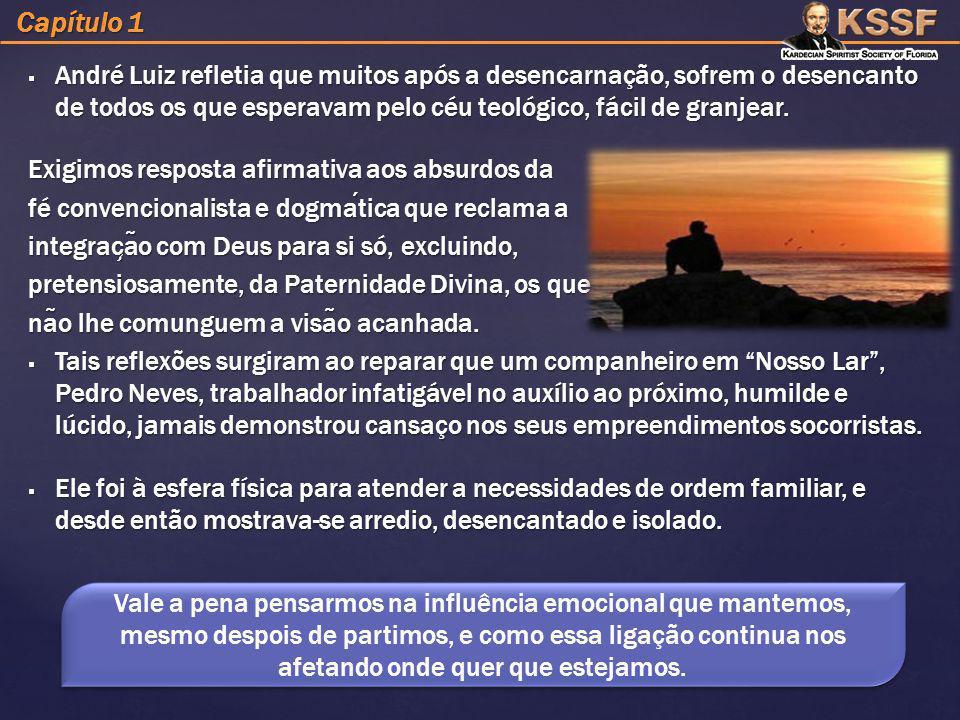  André Luiz refletia que muitos após a desencarnação, sofrem o desencanto de todos os que esperavam pelo céu teológico, fácil de granjear. Exigimos r