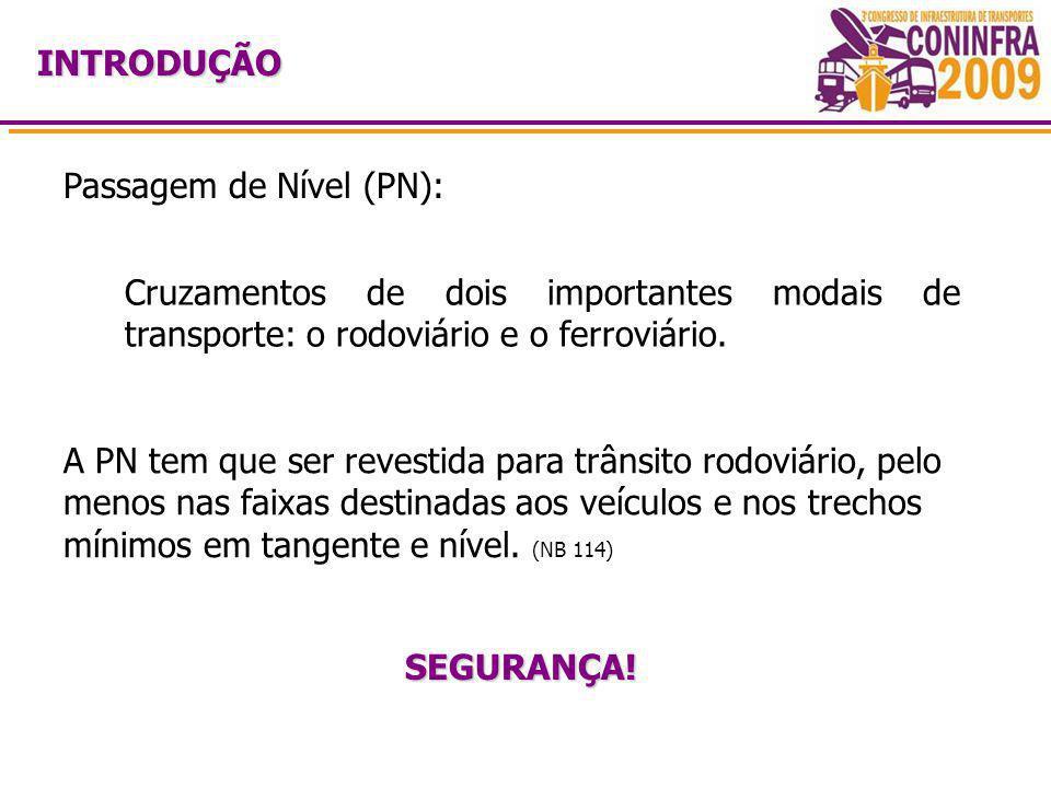 INTRODUÇÃO Passagem de Nível (PN): Cruzamentos de dois importantes modais de transporte: o rodoviário e o ferroviário. A PN tem que ser revestida para