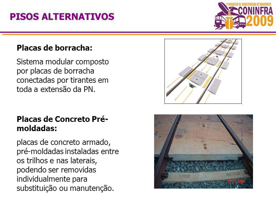 PISOS ALTERNATIVOS Placas de borracha: Sistema modular composto por placas de borracha conectadas por tirantes em toda a extensão da PN.