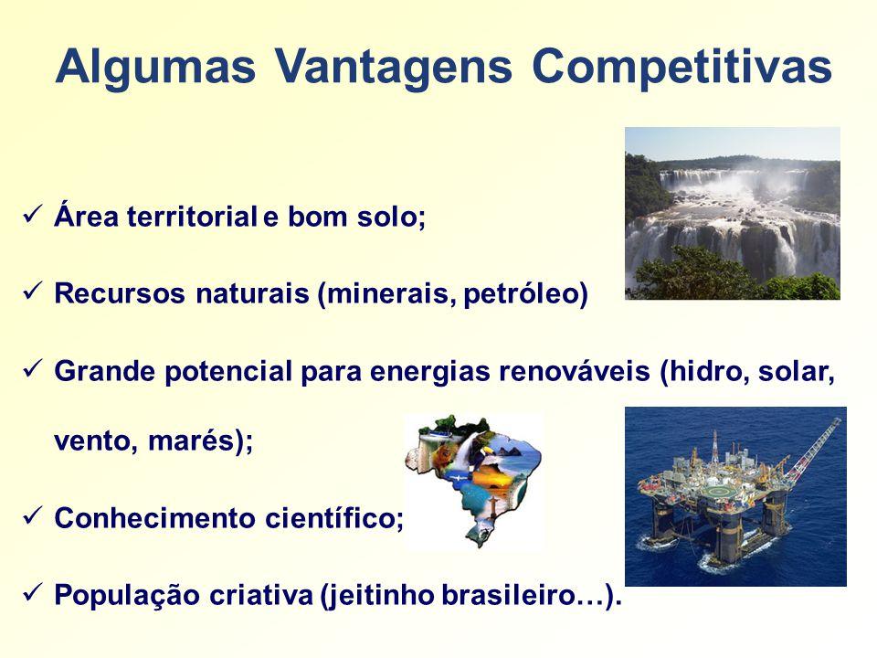 Algumas Vantagens Competitivas Área territorial e bom solo; Recursos naturais (minerais, petróleo) Grande potencial para energias renováveis (hidro, solar, vento, marés); Conhecimento científico; População criativa (jeitinho brasileiro…).