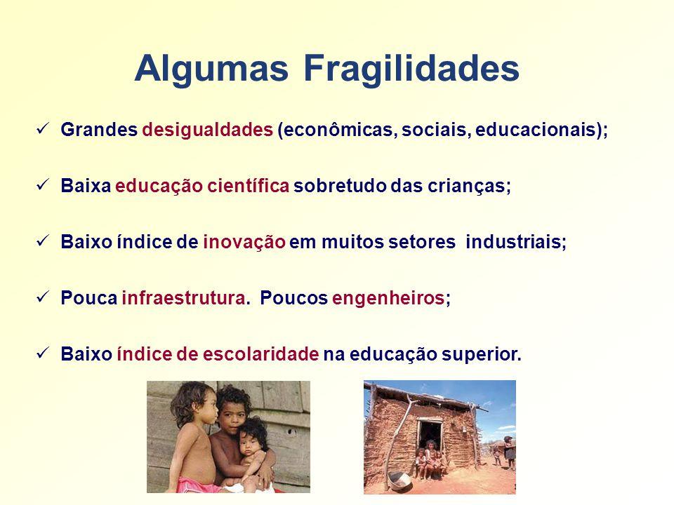 Algumas Fragilidades Grandes desigualdades (econômicas, sociais, educacionais); Baixa educação científica sobretudo das crianças; Baixo índice de inovação em muitos setores industriais; Pouca infraestrutura.