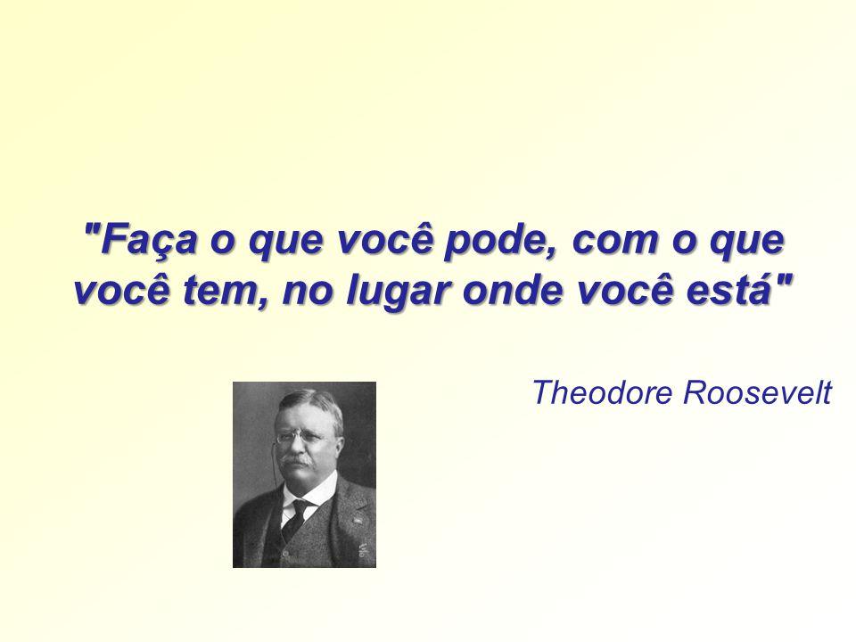 Faça o que você pode, com o que você tem, no lugar onde você está Theodore Roosevelt