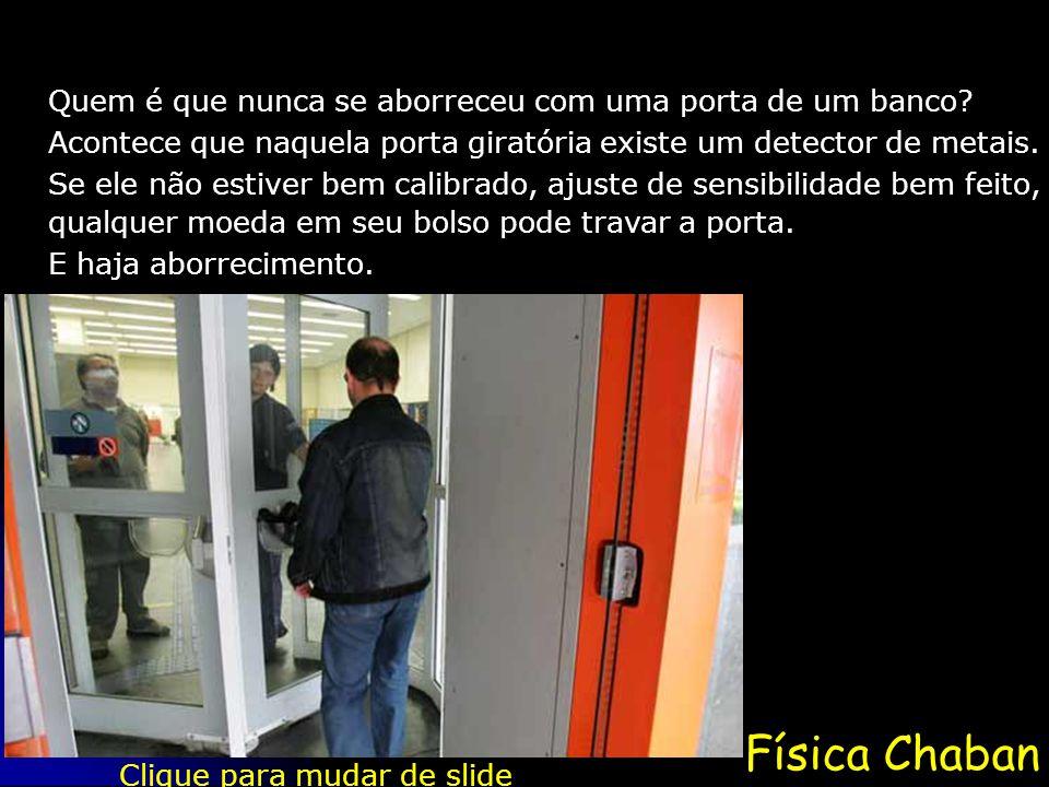Física Chaban Quem é que nunca se aborreceu com uma porta de um banco? Acontece que naquela porta giratória existe um detector de metais. Clique para