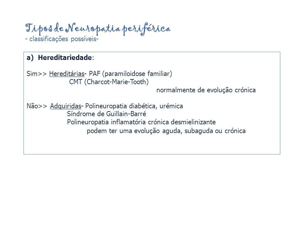 Tipos de Neuropatia periférica - classificações possíveis- a)Hereditariedade: Sim>> Hereditárias- PAF (paramiloidose familiar) CMT (Charcot-Marie-Tooth) normalmente de evolução crónica Não>> Adquiridas- Polineuropatia diabética, urémica Síndrome de Guillain-Barré Polineuropatia inflamatória crónica desmielinizante podem ter uma evolução aguda, subaguda ou crónica