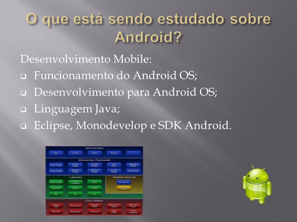 Desenvolvimento Mobile:  Funcionamento do Android OS;  Desenvolvimento para Android OS;  Linguagem Java;  Eclipse, Monodevelop e SDK Android.