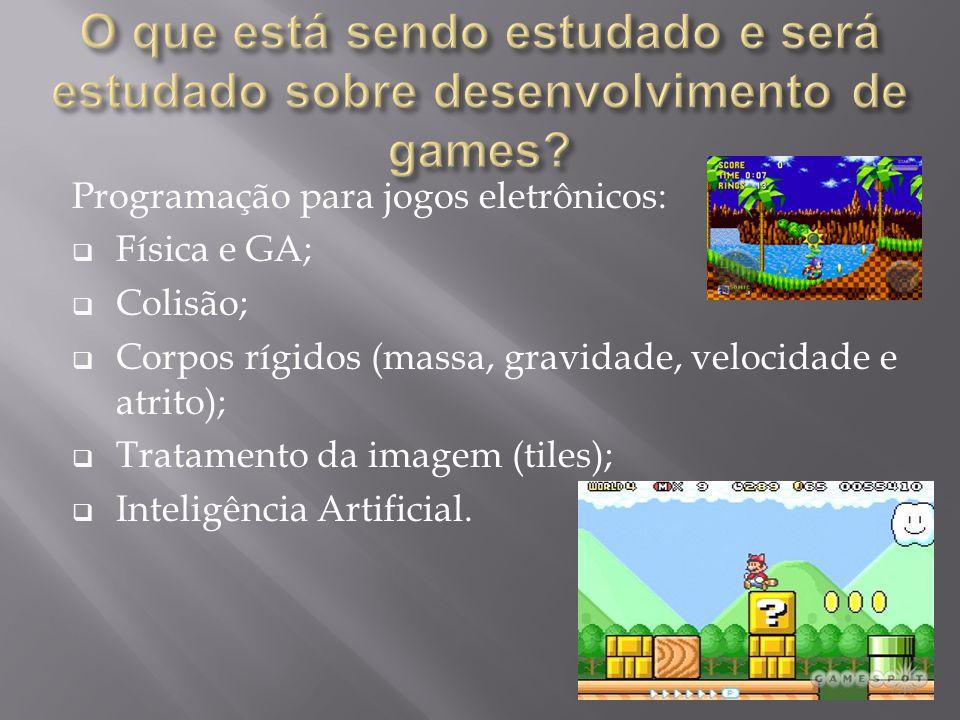 Programação para jogos eletrônicos:  Física e GA;  Colisão;  Corpos rígidos (massa, gravidade, velocidade e atrito);  Tratamento da imagem (tiles)