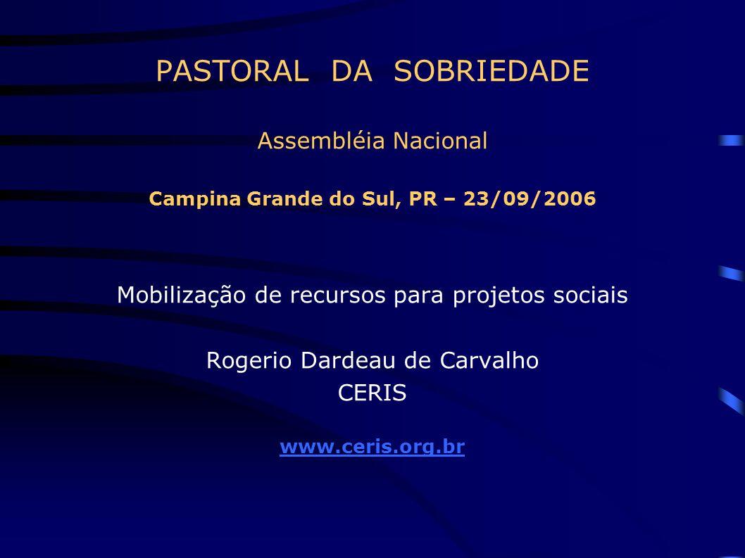 PASTORAL DA SOBRIEDADE Assembléia Nacional Campina Grande do Sul, PR – 23/09/2006 Mobilização de recursos para projetos sociais Rogerio Dardeau de Car