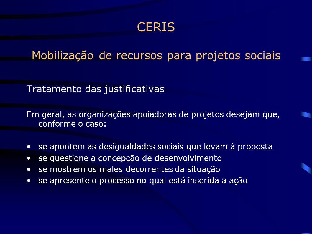 CERIS Mobilização de recursos para projetos sociais O modelo projeto (aspectos financeiros) Orçamento Plano de desembolso Contrapartida Projetos correlatos Prestações de contas detalhadas Auditorias