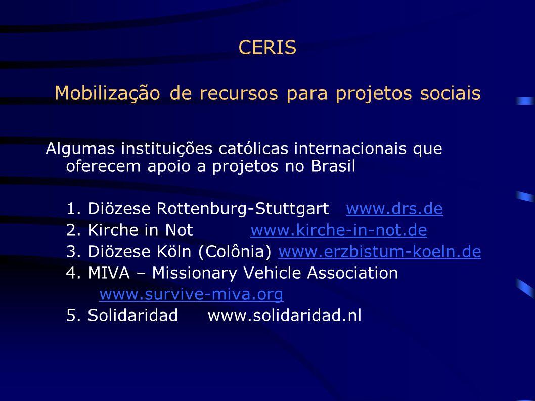 CERIS Mobilização de recursos para projetos sociais Algumas instituições católicas internacionais que oferecem apoio a projetos no Brasil 1.