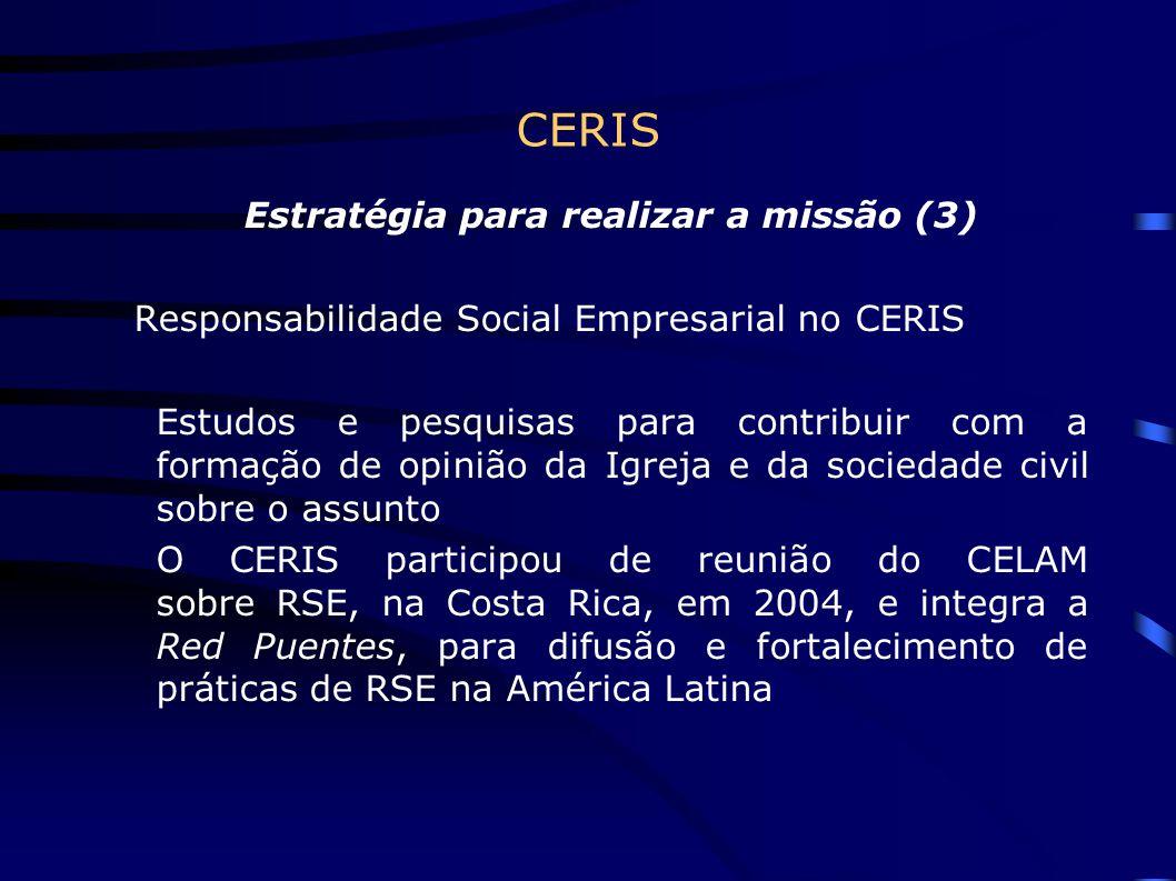 CERIS Estratégia para realizar a missão (3) Responsabilidade Social Empresarial no CERIS Estudos e pesquisas para contribuir com a formação de opinião