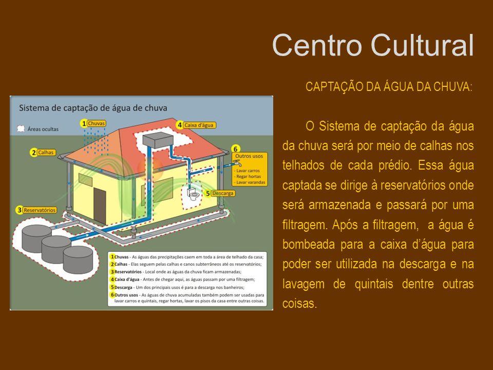CAPTAÇÃO DA ÁGUA DA CHUVA: O Sistema de captação da água da chuva será por meio de calhas nos telhados de cada prédio. Essa água captada se dirige à r