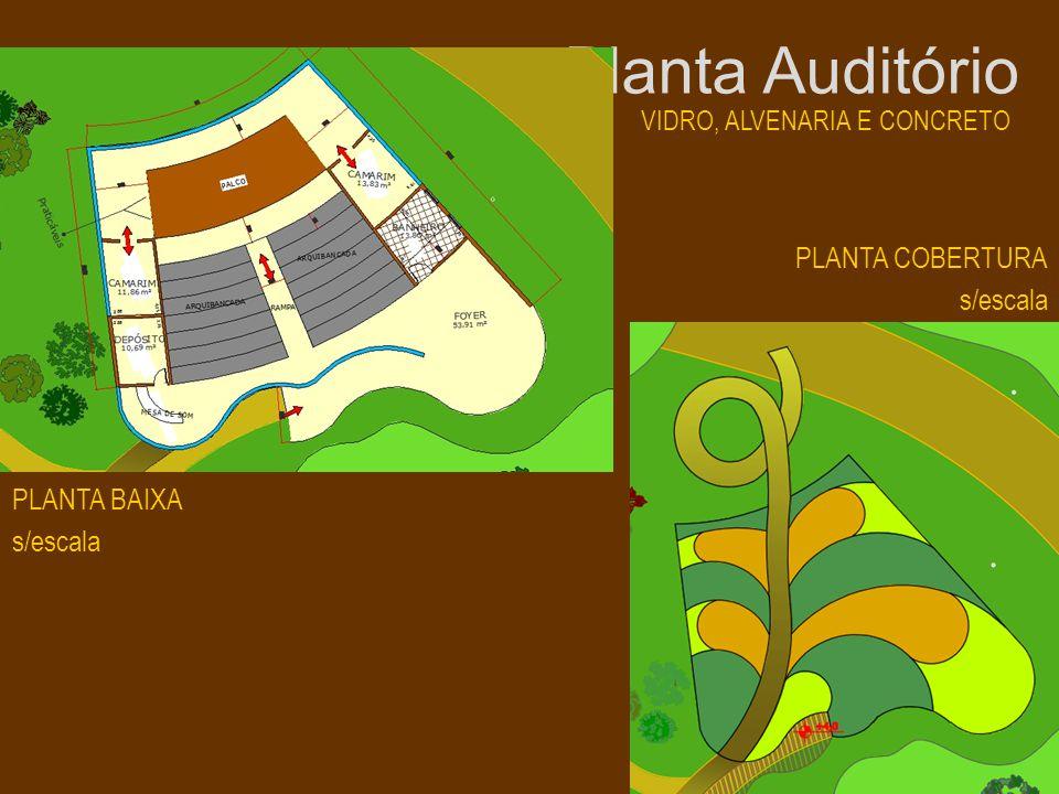 Planta Auditório VIDRO, ALVENARIA E CONCRETO PLANTA COBERTURA s/escala PLANTA BAIXA s/escala