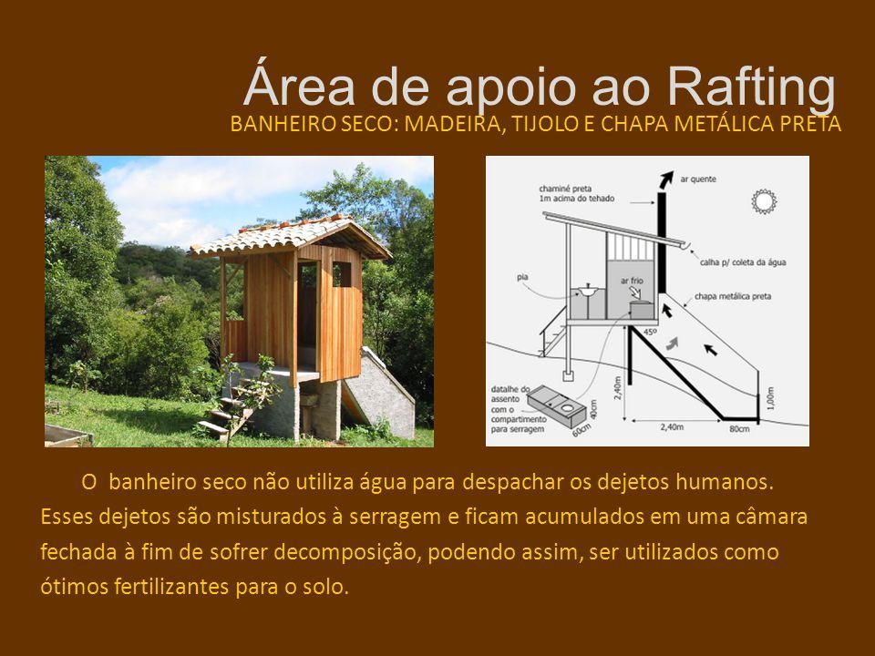 Área de apoio ao Rafting BANHEIRO SECO: MADEIRA, TIJOLO E CHAPA METÁLICA PRETA O banheiro seco não utiliza água para despachar os dejetos humanos. Ess