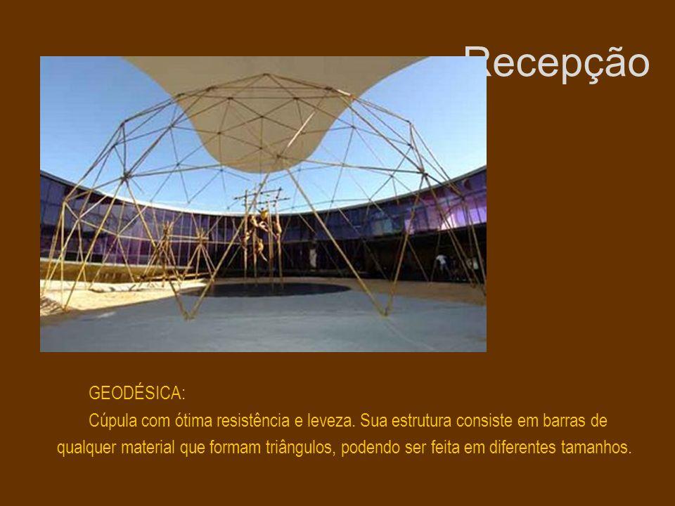 Recepção GEODÉSICA: Cúpula com ótima resistência e leveza. Sua estrutura consiste em barras de qualquer material que formam triângulos, podendo ser fe
