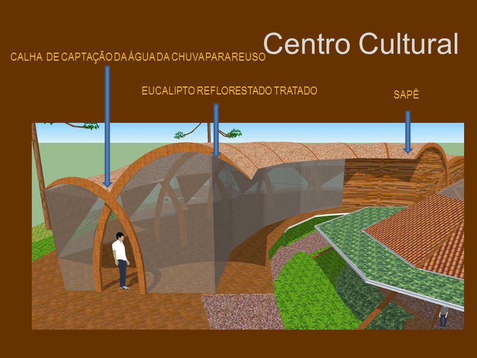 Centro Cultural CALHA DE CAPTAÇÃO DA ÁGUA DA CHUVA PARA REUSO EUCALIPTO REFLORESTADO TRATADO SAPÊ
