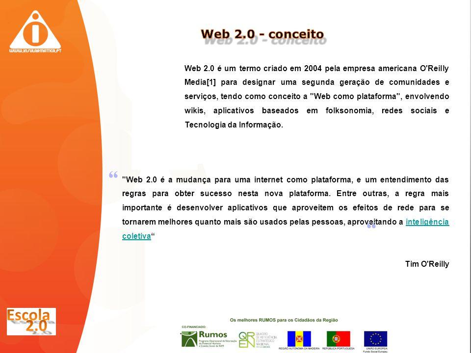 Web 2.0 é um termo criado em 2004 pela empresa americana O Reilly Media[1] para designar uma segunda geração de comunidades e serviços, tendo como conceito a Web como plataforma , envolvendo wikis, aplicativos baseados em folksonomia, redes sociais e Tecnologia da Informação.