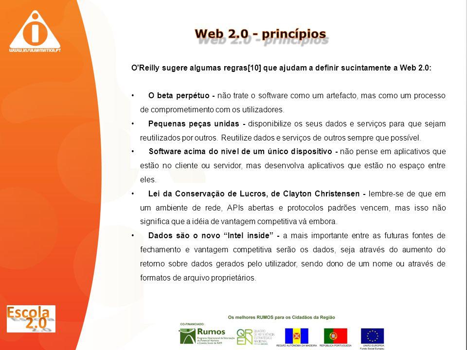 O Reilly sugere algumas regras[10] que ajudam a definir sucintamente a Web 2.0: O beta perpétuo - não trate o software como um artefacto, mas como um processo de comprometimento com os utilizadores.