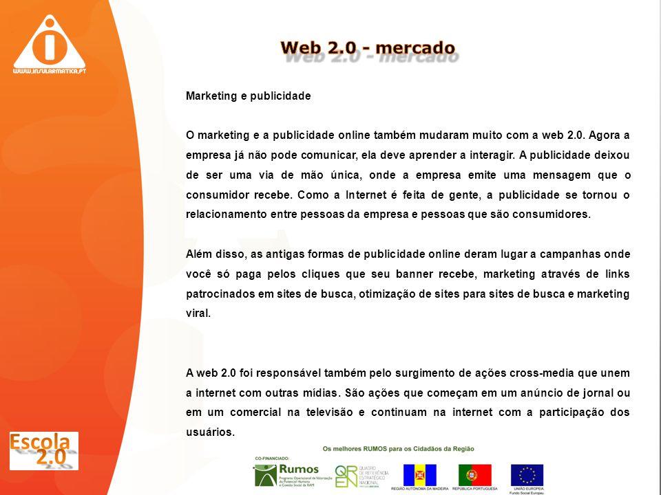 Marketing e publicidade O marketing e a publicidade online também mudaram muito com a web 2.0.