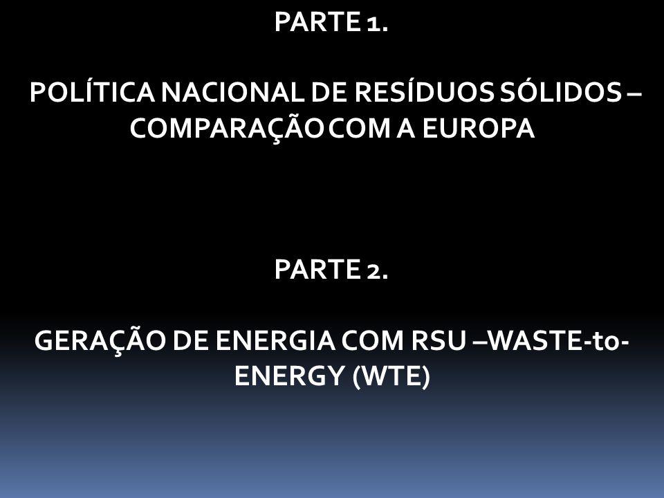 PARTE 1. POLÍTICA NACIONAL DE RESÍDUOS SÓLIDOS – COMPARAÇÃO COM A EUROPA PARTE 2. GERAÇÃO DE ENERGIA COM RSU –WASTE-to- ENERGY (WTE)