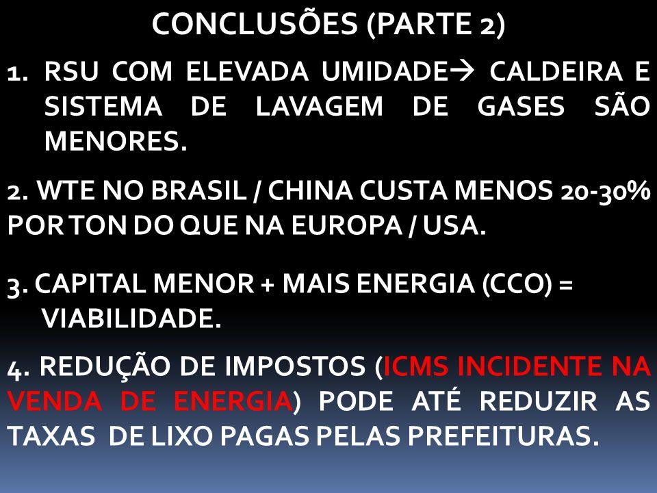 3. CAPITAL MENOR + MAIS ENERGIA (CCO) = VIABILIDADE. CONCLUSÕES (PARTE 2) 1.RSU COM ELEVADA UMIDADE  CALDEIRA E SISTEMA DE LAVAGEM DE GASES SÃO MENOR